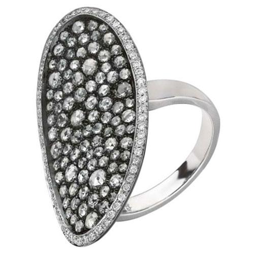 18K White Gold and Black Rhodium Diamond Ring