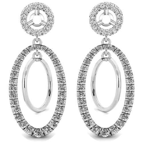14K White Gold Diamond Earring Jackets 1/3ct tw