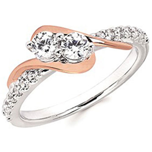 14K White and Rose Gold 2 of US Diamond Ring
