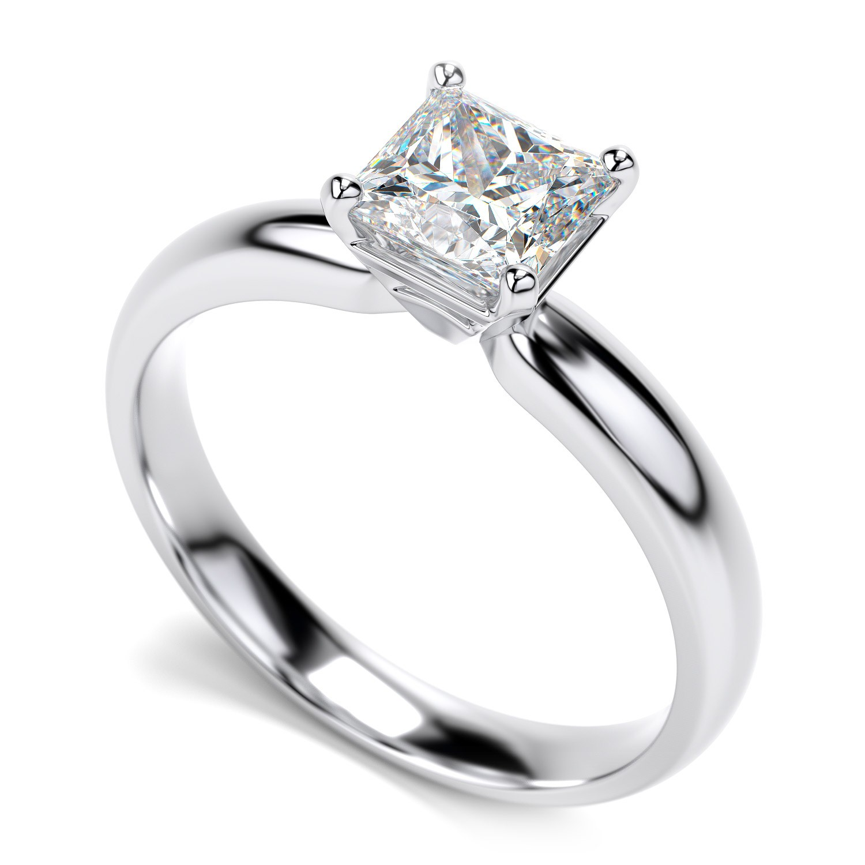 14K White Gold Diamond Princess Cut Solitaire Engagement Ring 34