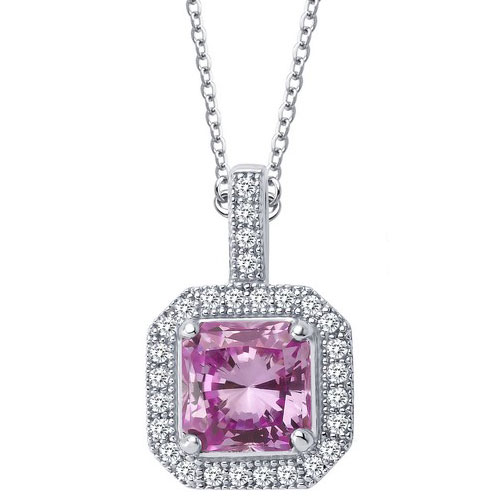 "Sterling Silver Created Pink Sapphire and Simulated Diamond Pendant with 18"" Chain"