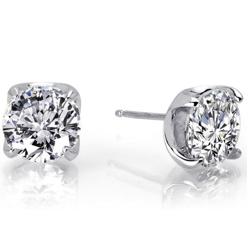 Sterling Silver 7.5mm Simulated Diamond Earrings