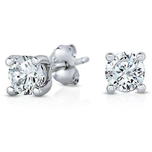 Sterling Silver 7mm Simulated Diamond Earrings