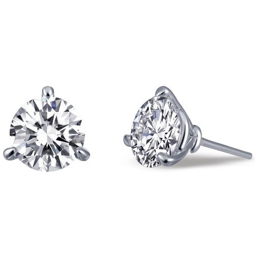 Sterling Silver 6.5mm Simulated Diamond Earrings