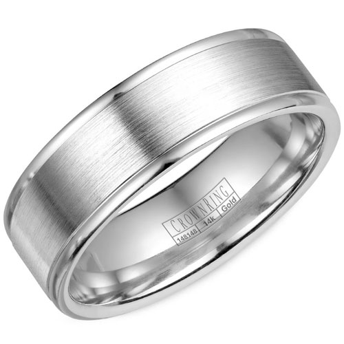 14K White Gold 6.5mm Wedding Band, Brushed Center with High Polished Edges
