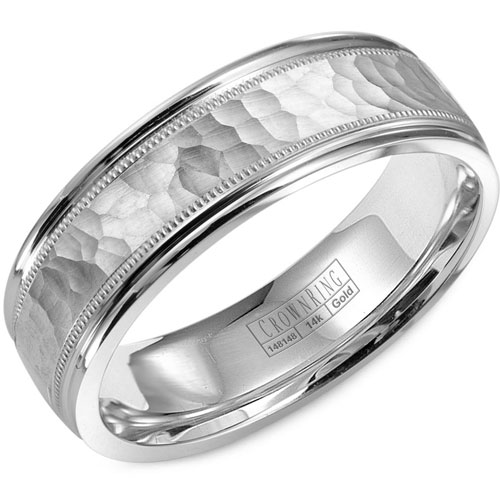 14K White Gold 6.5mm Wedding Band, Hammered Center with Beaded High Polished Edges
