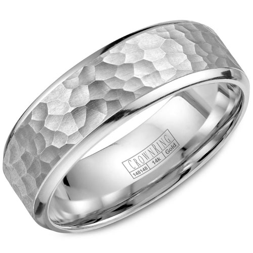 14K White Gold 6.5mm Wedding Band, Hammered Center with High Polished Edges