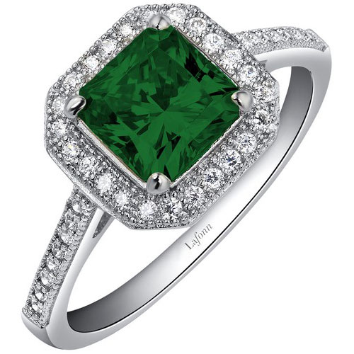 Sterling Silver Created Emerald Ring with Simulated Diamonds