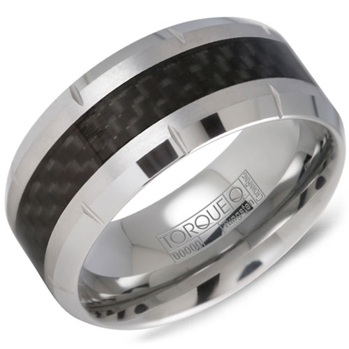 10mm Tungsten Carbide Wedding Band with Carbon Fiber Inlay
