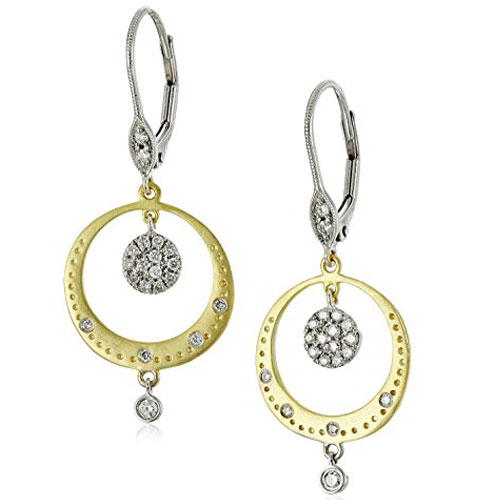 14K Yellow and White Gold Diamond Dangle Earrings 1/3ct tw