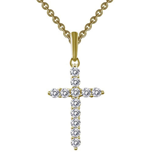 Lafonn Gold Plated Sterling Silver Simulated Diamond Cross Pendant