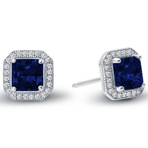 Sterling Silver Created Sapphire and Simulated Diamond Earrings
