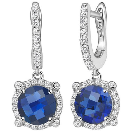Sterling Silver Created Sapphire and Simulated Diamond Frame Drop Earrings