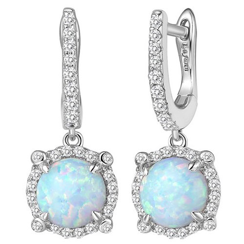 Sterling Silver Created Opal and Simulated Diamond Frame Drop Earrings