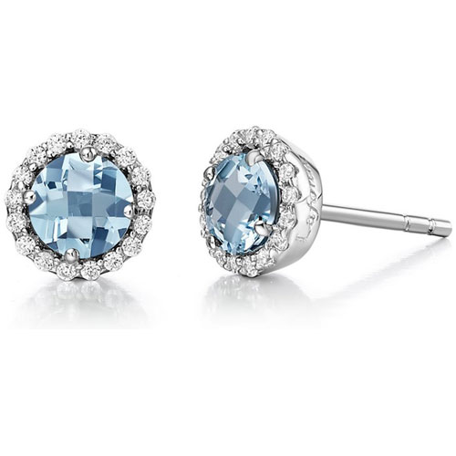 Sterling Silver Created Aquamarine and Simulated Diamond Frame Earrings