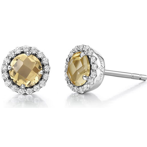 Sterling Silver Citrine and Simulated Diamond Frame Earrings