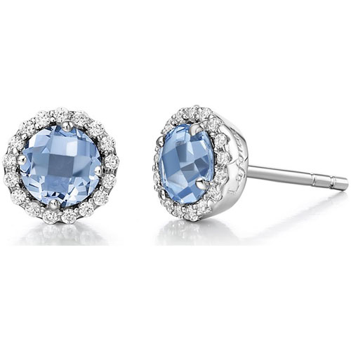 Sterling Silver Blue Topaz and Simulated Diamond Frame Earrings