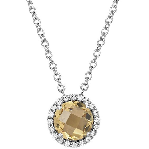 "Sterling Silver Citrine Frame Pendant with Simulated Diamonds with 18"" Chain"