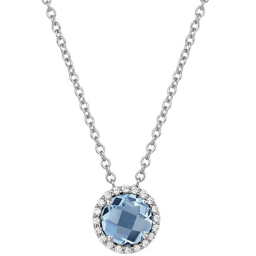 "Sterling Silver Blue Topaz and Simulated Diamond Frame Pendant with 18"" Chain"
